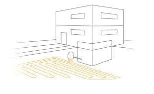 Schema Flächenkollektor mit Direktverdampfungssystem